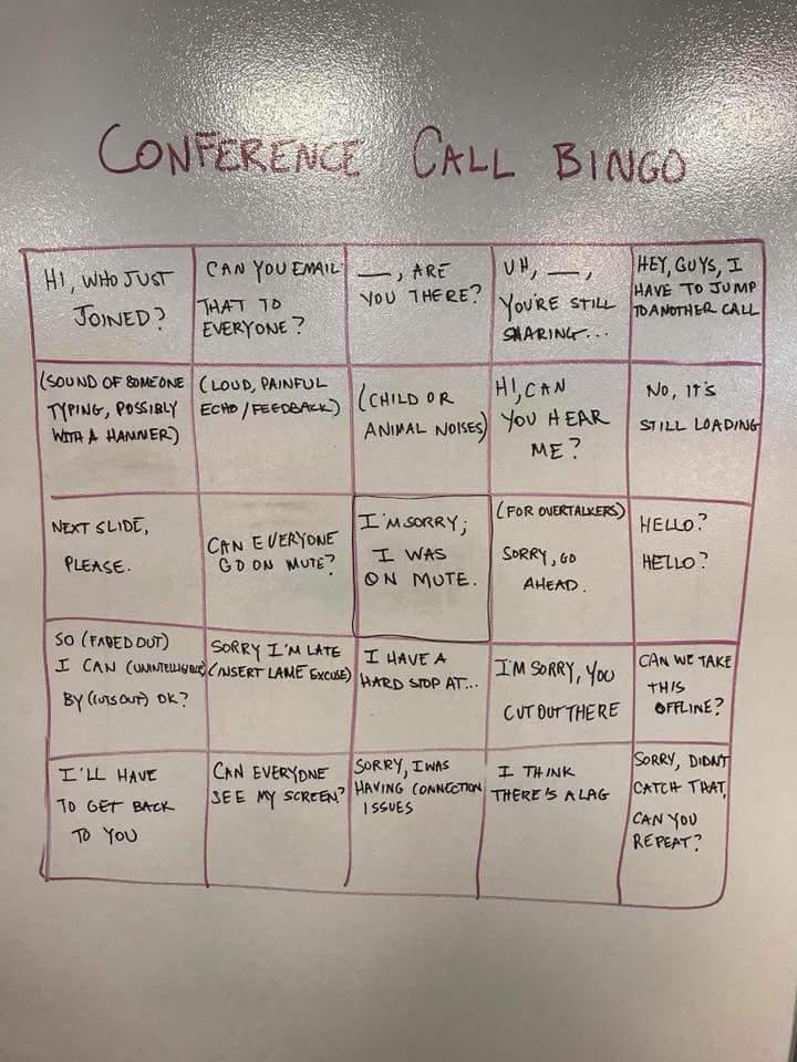 Conference Call Bingo, Anyone? This Is Too Real